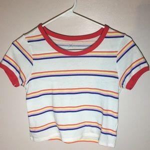 Multicolored striped crop top